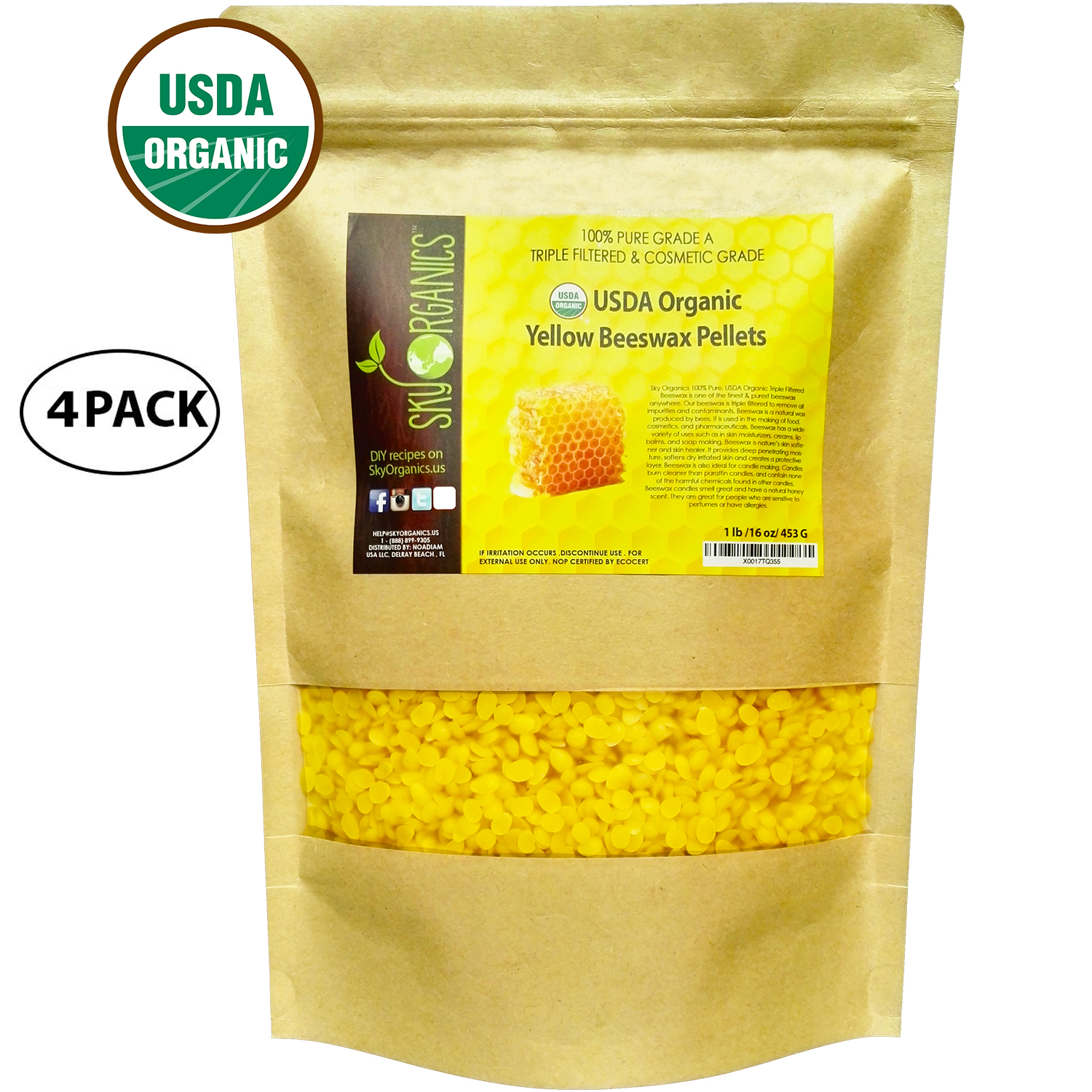USDA Organic Yellow Beeswax Pellets by Sky Organics (1lb) (4 Pack) -Superior Quality Pure Bees Wax No Toxic Pesticides, Chemicals 3x... by