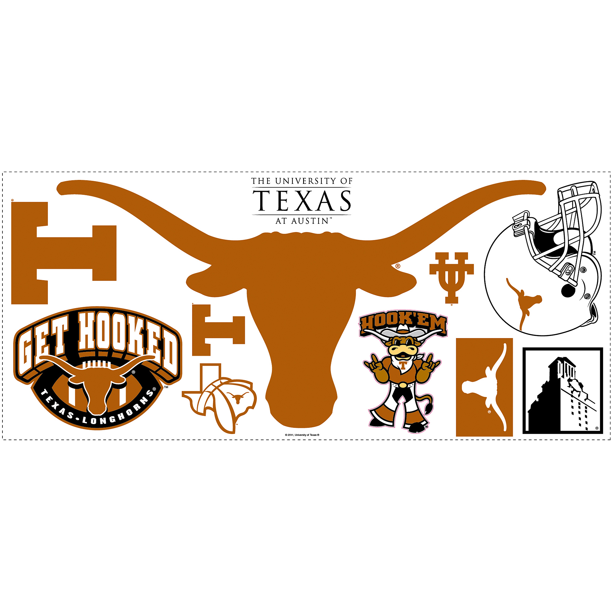 RoomMates University of Texas Peel-and-Stick Giant Wall Decal with Hooks