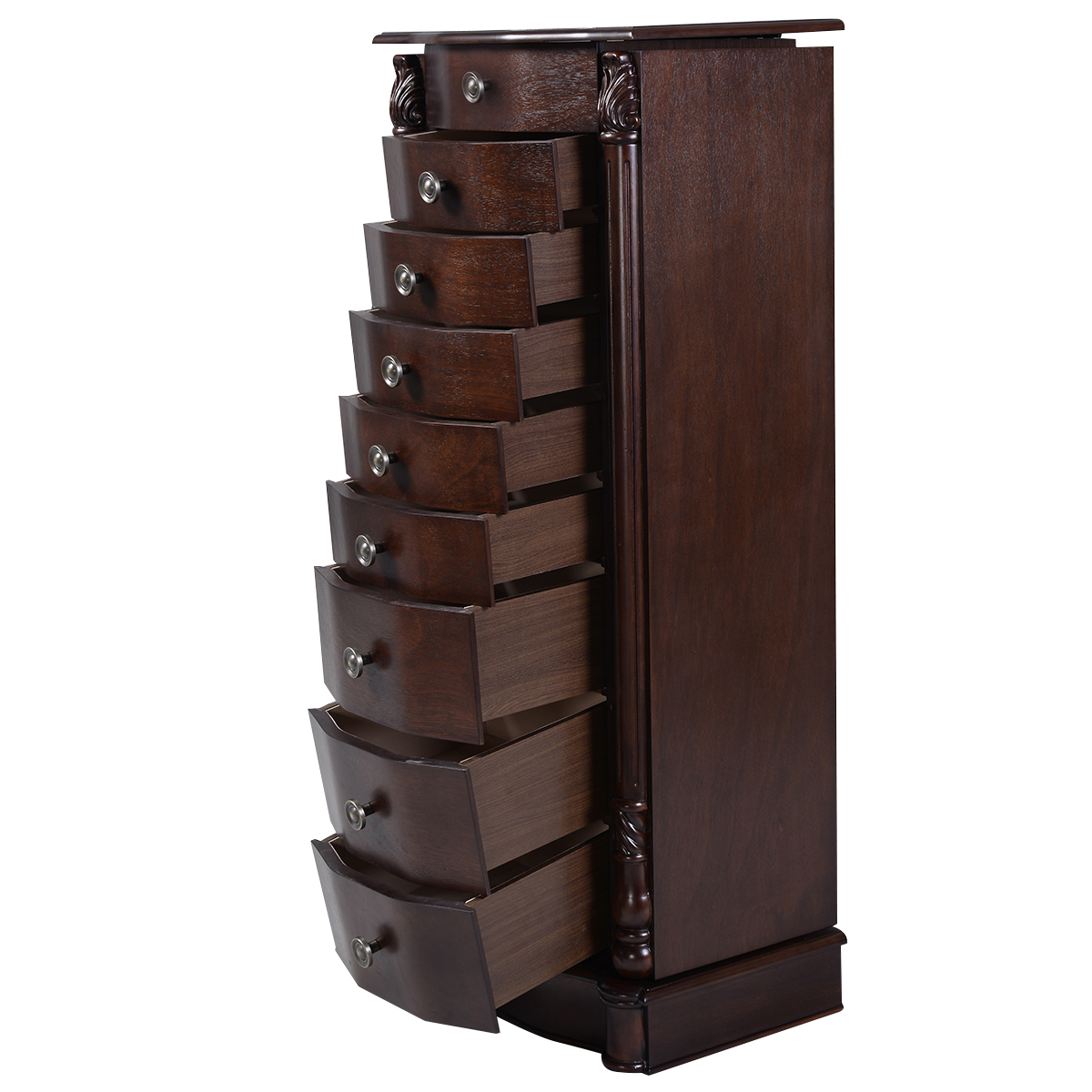 Beau Costway Wood Jewelry Cabinet Armoire Box Storage Chest Stand Organizer  Necklace   Walmart.com