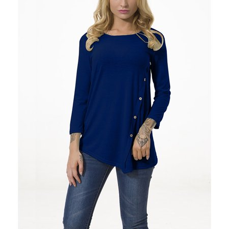 FRESHLOOK - Fashion Women Long Sleeve Tops Button Design Casual Blouse  Round Neck Shirts Autumn T-shirts - Walmart com