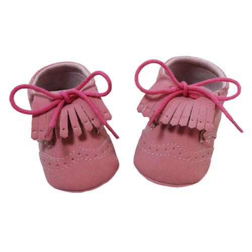 Baby Girls Pink Fringe Lace up Moccasin Crib Shoes 0-12M