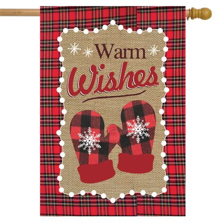 Warm Wishes Winter Burlap House Flag Mittens Snowflakes 28 ...
