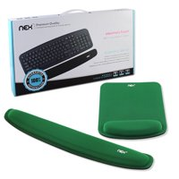 NEX Ergonomic Mouse Pad with Wrist Support, Memory Foam Keyboard Wrist Rest for Computer, Green (NX-PAD004)