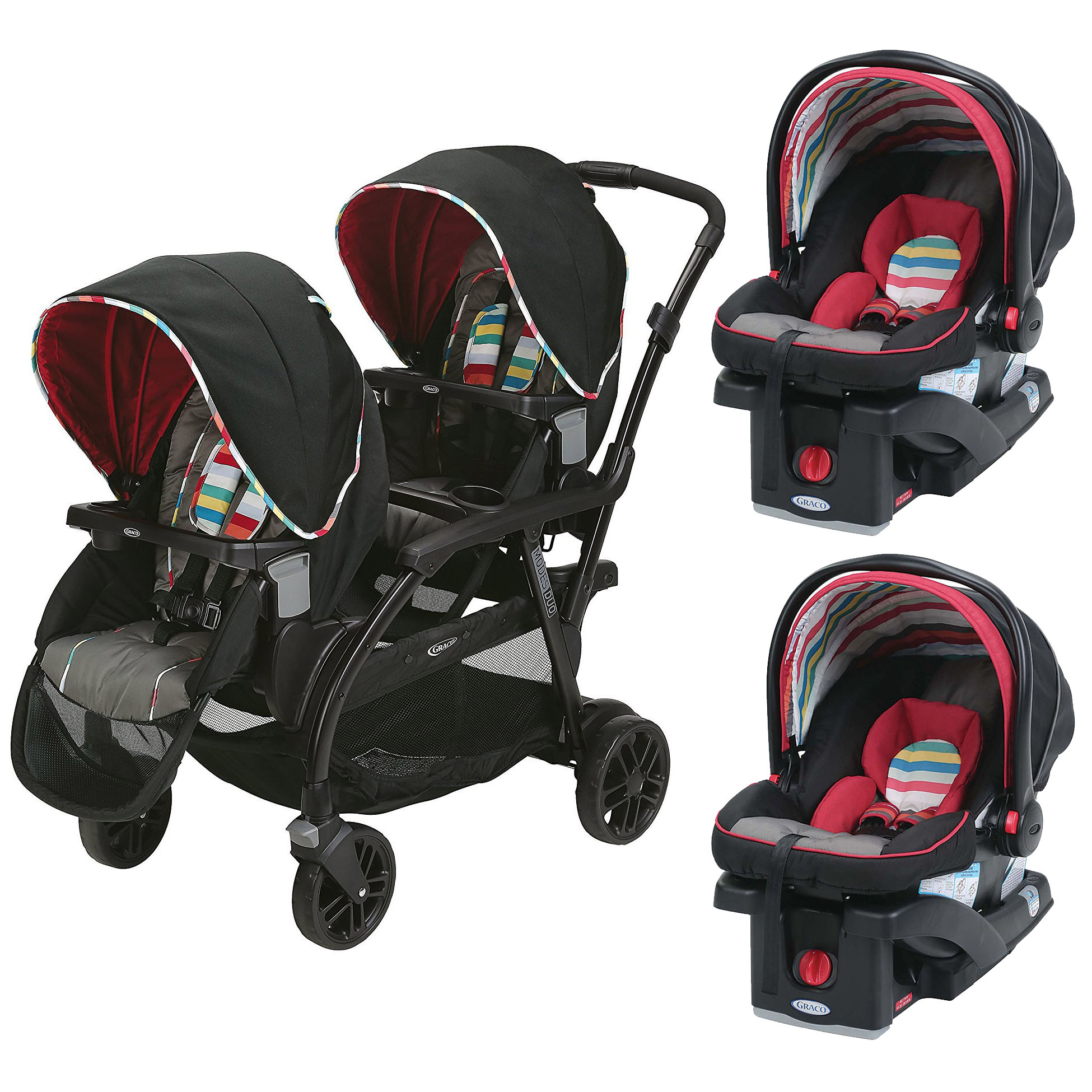 Graco Travel System Modes Duo Stroller & 2 SnugRide Click Connect Car Seats by Graco