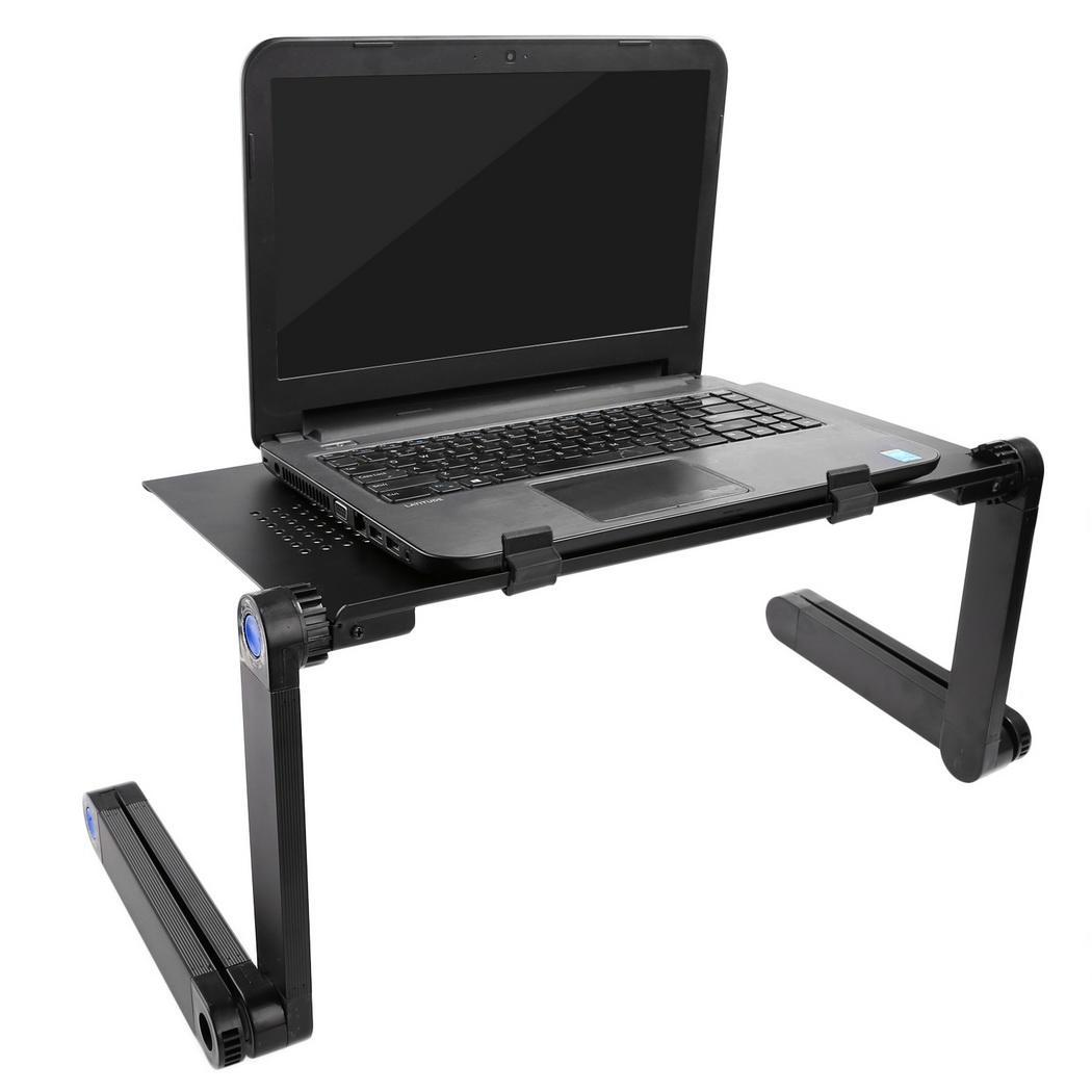 Hifashion Adjustable Portable Foldable Laptop Notebook Desk Table Stand Tray for Home Office Black  HFON