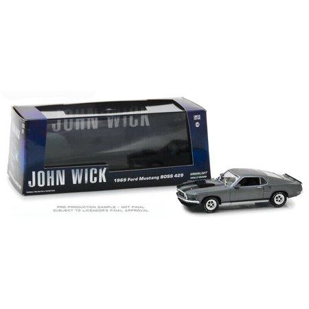 GREENLIGHT 1:43 HOLLYWOOD - JOHN WICK - 1969 FORD MUSTANG BOSS 429 (GREY/BLACK STRIPES) - Mustang Boss Stripes