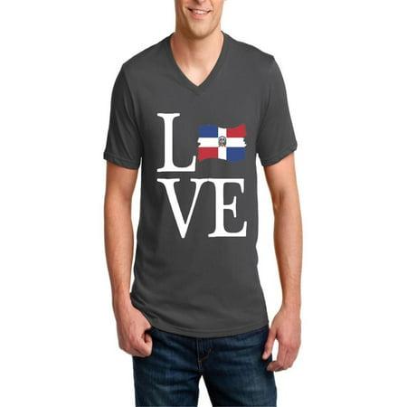 Love Dominican Republic Men V-Neck Shirts Ringspun (Best City In Dominican Republic)