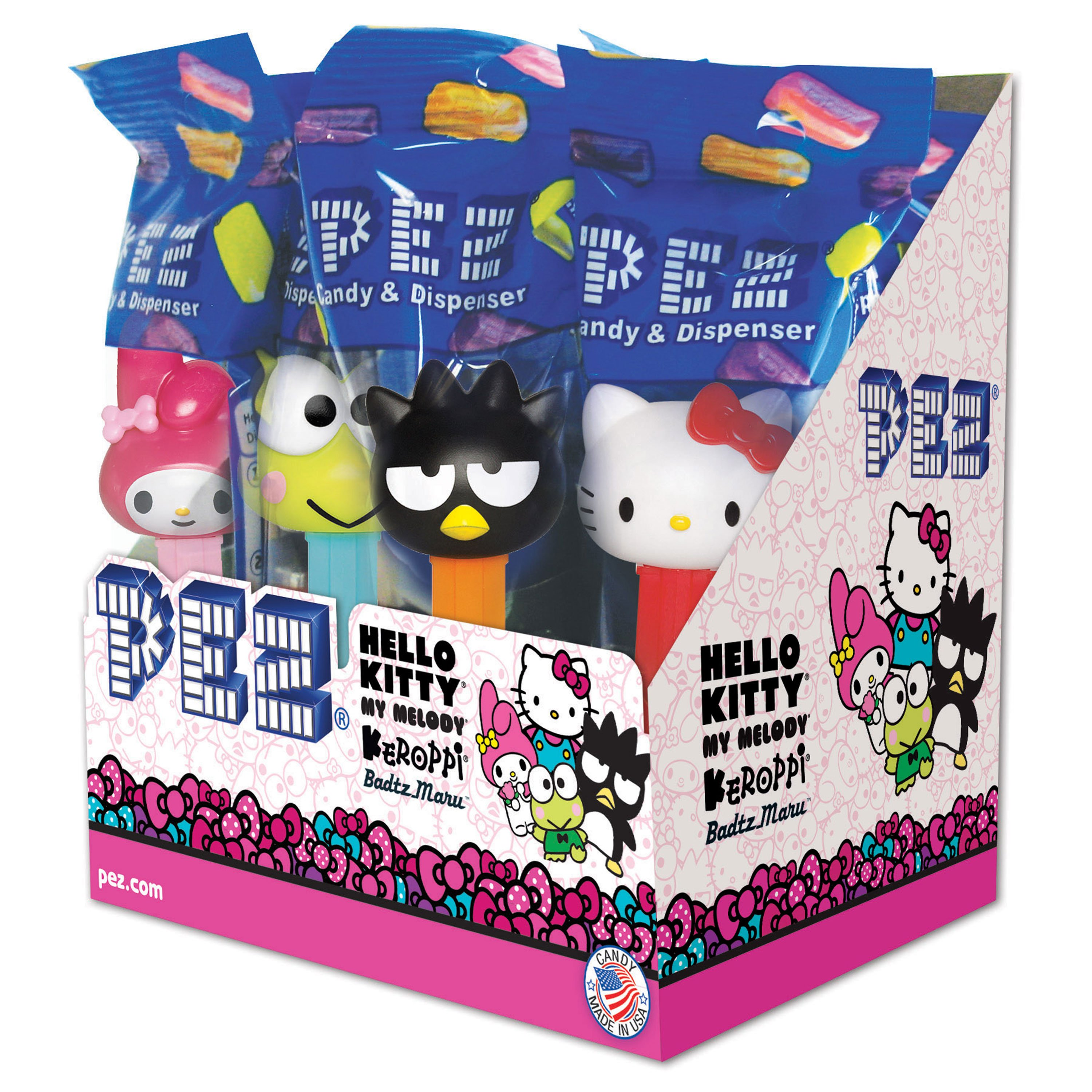 PEZ Candy Hello Kitty Assortment, candy dispenser plus 2 rolls of assorted fruit candy, box of 12
