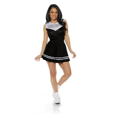 Black Cheer Womens Adult Cheerleader Sporty Halloween Costume (Womens Adult Halloween Costume)