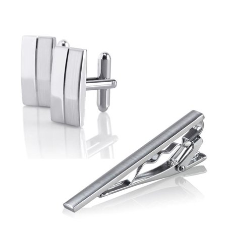 Zodaca Mens Metal Silver Tone Simple Necktie Tie Bar Clasp Clip+Cufflinks set