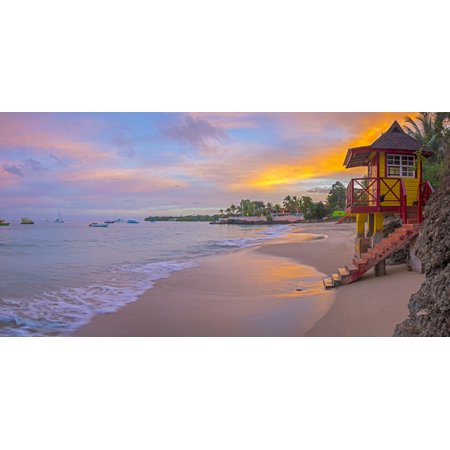 Caribbean, Trinidad and Tobago, Tobago, Store Bay, Store Bay Beach, Lifeguard Hut at sunrise Print Wall Art By Alan (Hut 8 Clothing Store)