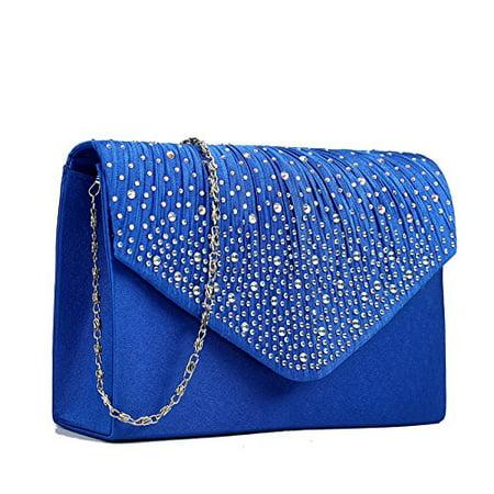 Miss Lulu Ladies Diamante Clutch Evening Bridal Wedding Bag Handbag (Navy) (Wedding Handbags)