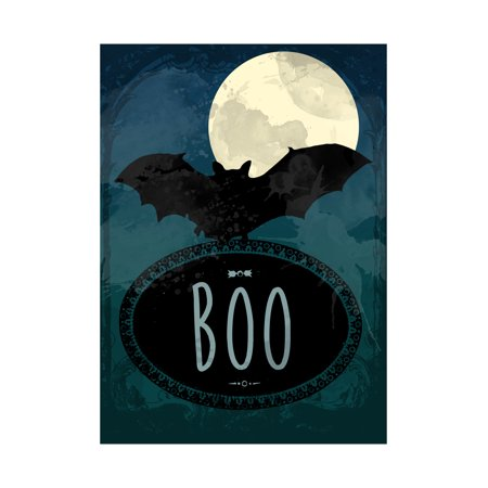Moon Bat Night Picture Boo Print Paint Design Scary Halloween Seasonal Decoration Sign Aluminum Metal