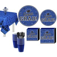 Party City Congrats Grad Graduation Tableware Kit for 18 Guests (Click to Select Color)