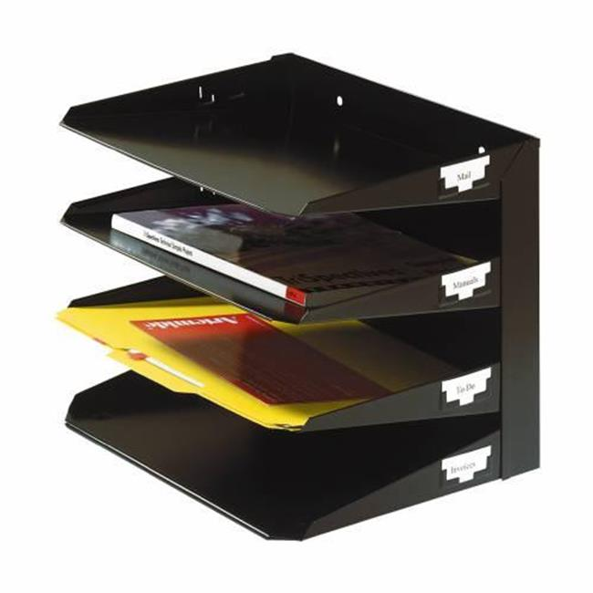 MMF 2643HLBK Steel Multi - Tier Horizontal Organizer 3 - Tier Legal Size -  Black
