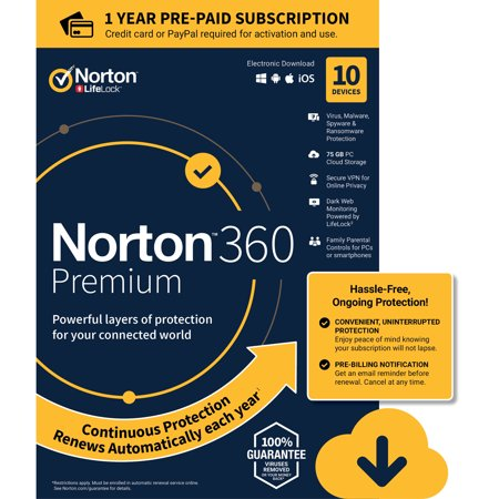 NORTON 360 PREMIUM, 1-Year Subscription, 10 DEVICE, PC, MAC [Digital Download] ()