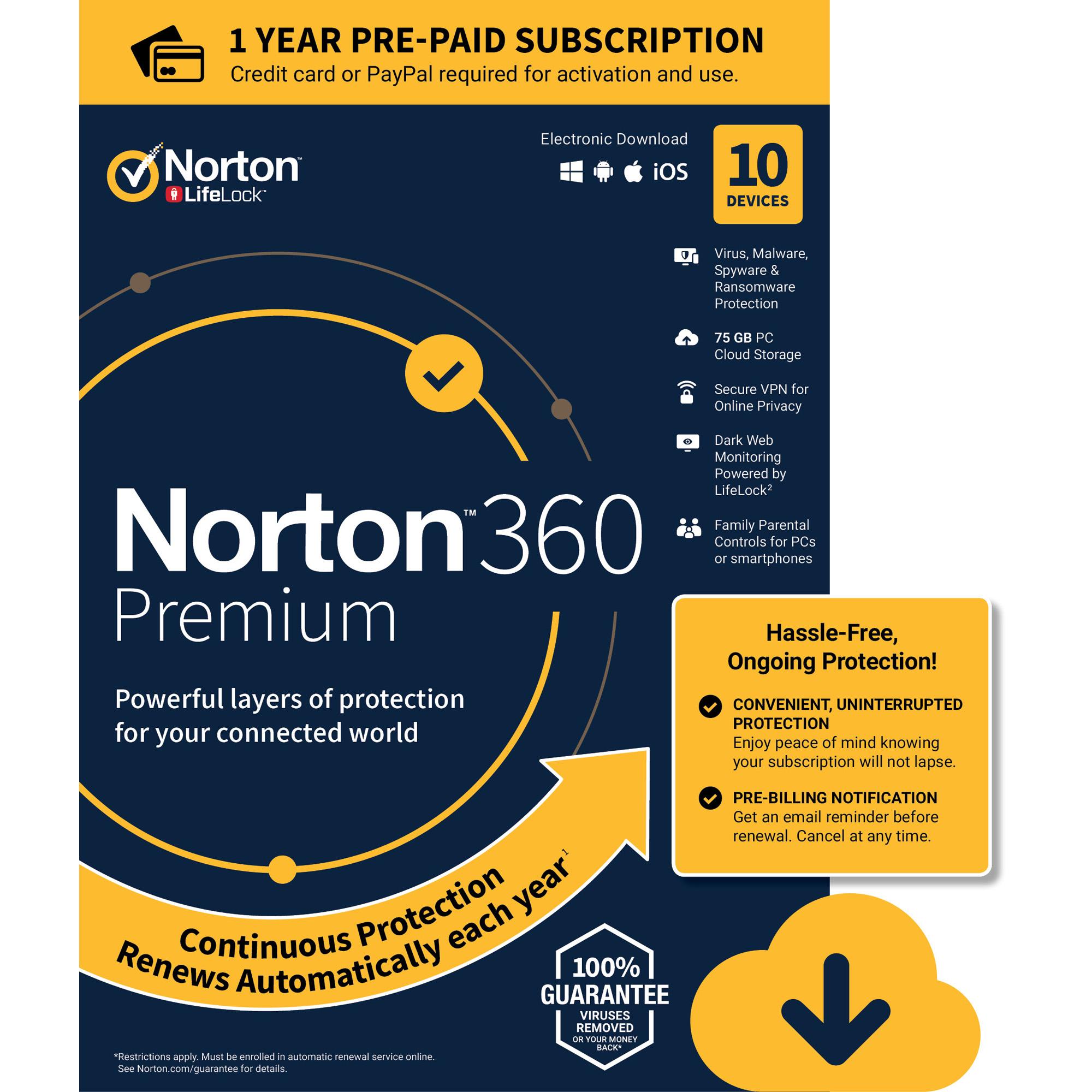 NORTON 360 PREMIUM, 1-Year Subscription, 10 DEVICE, PC, MAC [Digital Download]