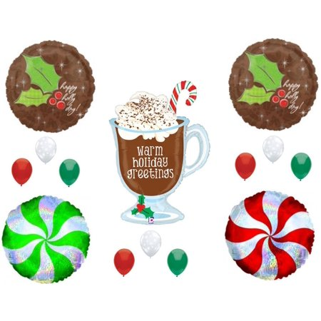 HOT CHOCOLATE MERRY CHRISTMAS Party Balloons Decorations Supplies Caroling Snow](Snow Themed Decorations)