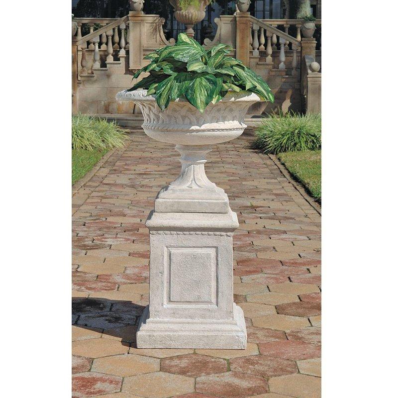 Larkin Arts and Crafts Architectural Garden Urn and Plinth Set by Design Toscano