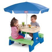 Little Tikes Easy Store Jr. Picnic Table with Umbrella. Play table up to 4 kids. JUNIOR SIZE