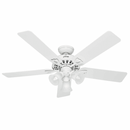 Hunter Fan Company 53114 The Sontera 52  Ceiling Fan With 5 White Bleached Oak Blades And Light Kit  White