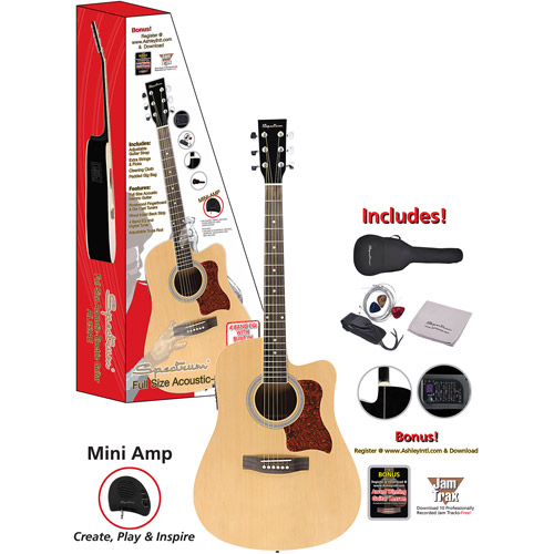 "Spectrum 41"" AIL-259AE Full Size Cutaway Acoustic Electric Guitar, Black and Spruce"
