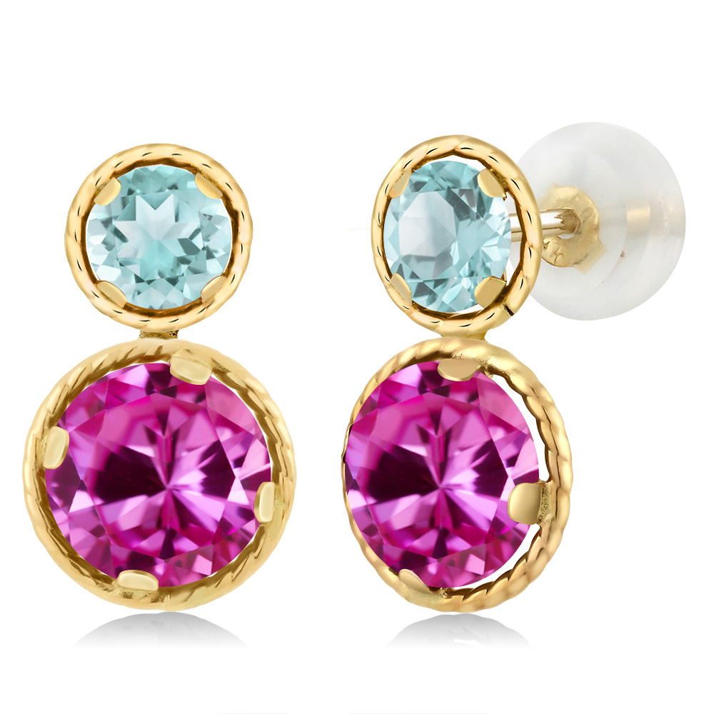 4.72 Ct Round Pink Created Sapphire Sky Blue Topaz 14K Yellow Gold Earrings by