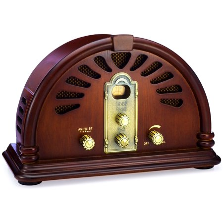 ClearClick Classic Vintage Retro Style AM/FM Radio with Bluetooth - Handmade Wooden (Cathedral Style Radio)