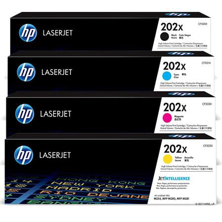 HP 202X High Yield Black 2-Pack and Cyan/Magenta/Yellow Original LaserJet Toner Cartridge Set
