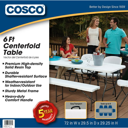 Cosco 6 Foot Centerfold Folding Table White Best Buy