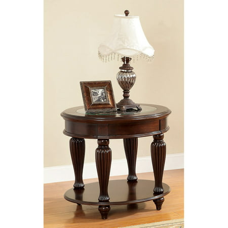 Oriental Furniture Asian Furniture (Furniture of America Baxter Beveled Tempered Glass Oriental End Table - Dark Cherry )