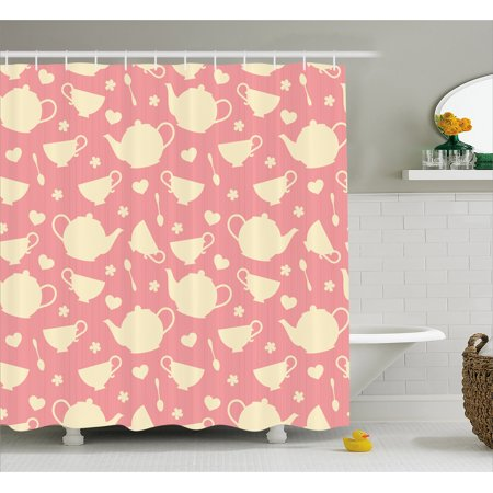 Tea Party Shower Curtain White Teapots With Cute Little Hearts And Flowers Ilration British Tradition
