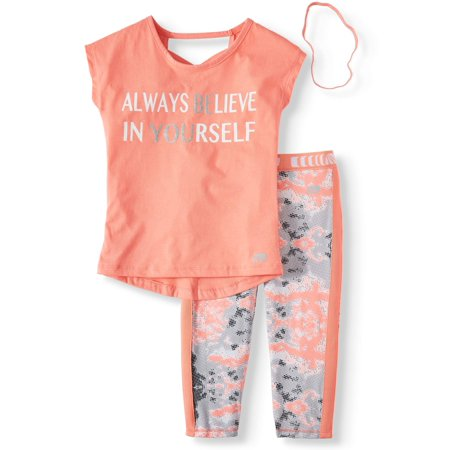 Believe In Yourself Top and Camo Performance Legging, 2-Piece Active Set (Little Girls & Big Girls) ()