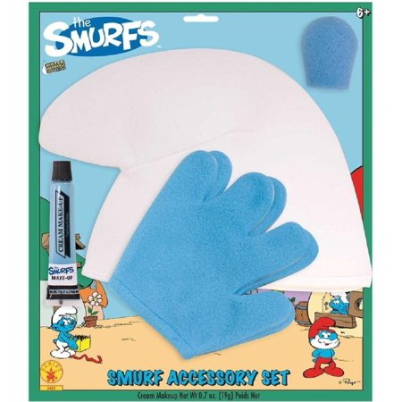 Child Size Smurf Nose Hat Gloves Makeup Tube Halloween Costume Accessory Kit - Halloween Costumes Smurfs