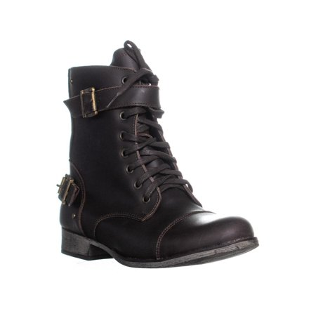Dv Dolce Vita - Womens DV Dolce Vita Sargeant Lace Up Dual Buckle Combat Boots, Brown, 11 US