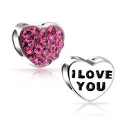 I love You Princess Pink Crystal Heart Charm Bead For Women For Teen 925 Sterling Silver Fits European Charm Bracelet