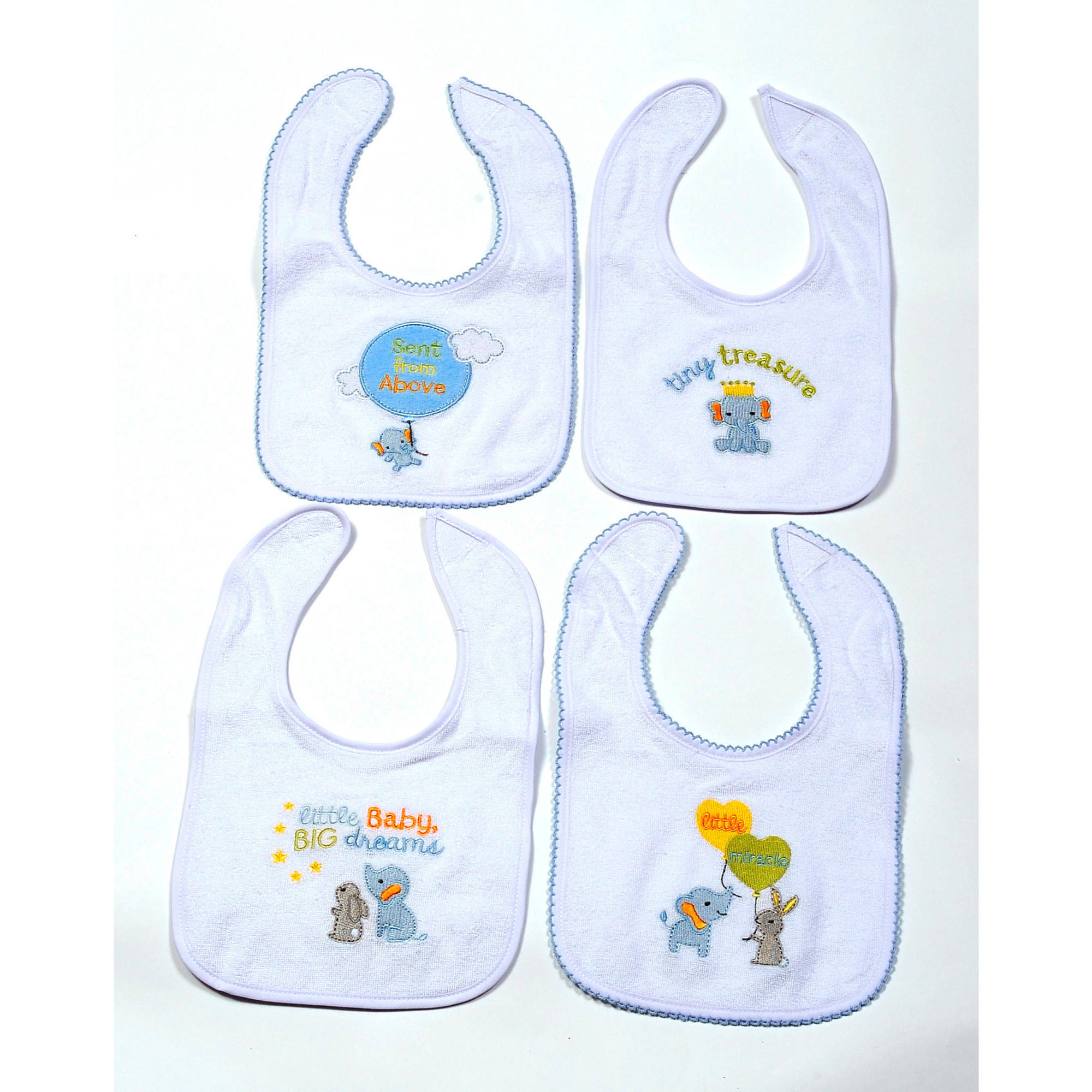 Boys Threaded Icon Bibs, Pack of 4
