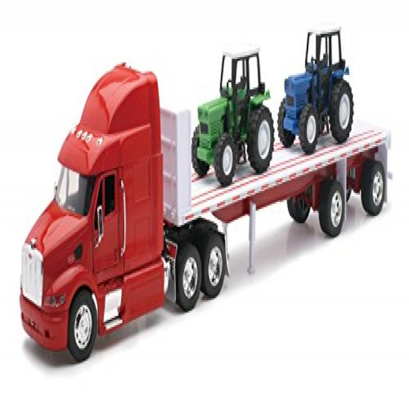 Peterbilt Truck with Flatbed Trailer and 2 Farm Tractors: Diecast and Plastic Model 1:32... by