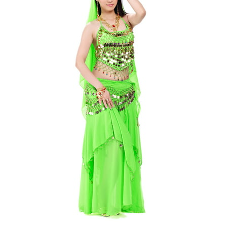 BellyLady Halloween Belly Dance Costume, Halter Bra Top, Hip Scarf and Skirt-Green](Halloween Scarf)