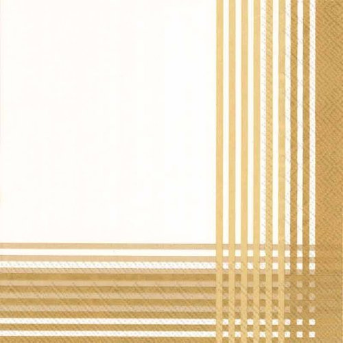 4 PACKS PAPER COCKTAIL NAPKINS/CROSS cream gold 4 Packs Paper Cocktail Napkins/Cross Cream Gold