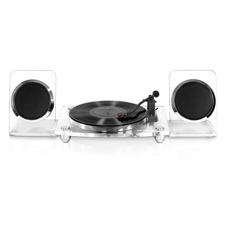 Victrola Acrylic Bluetooth 40 watt Record Player with 2-Speed Turntable and Rechargeable