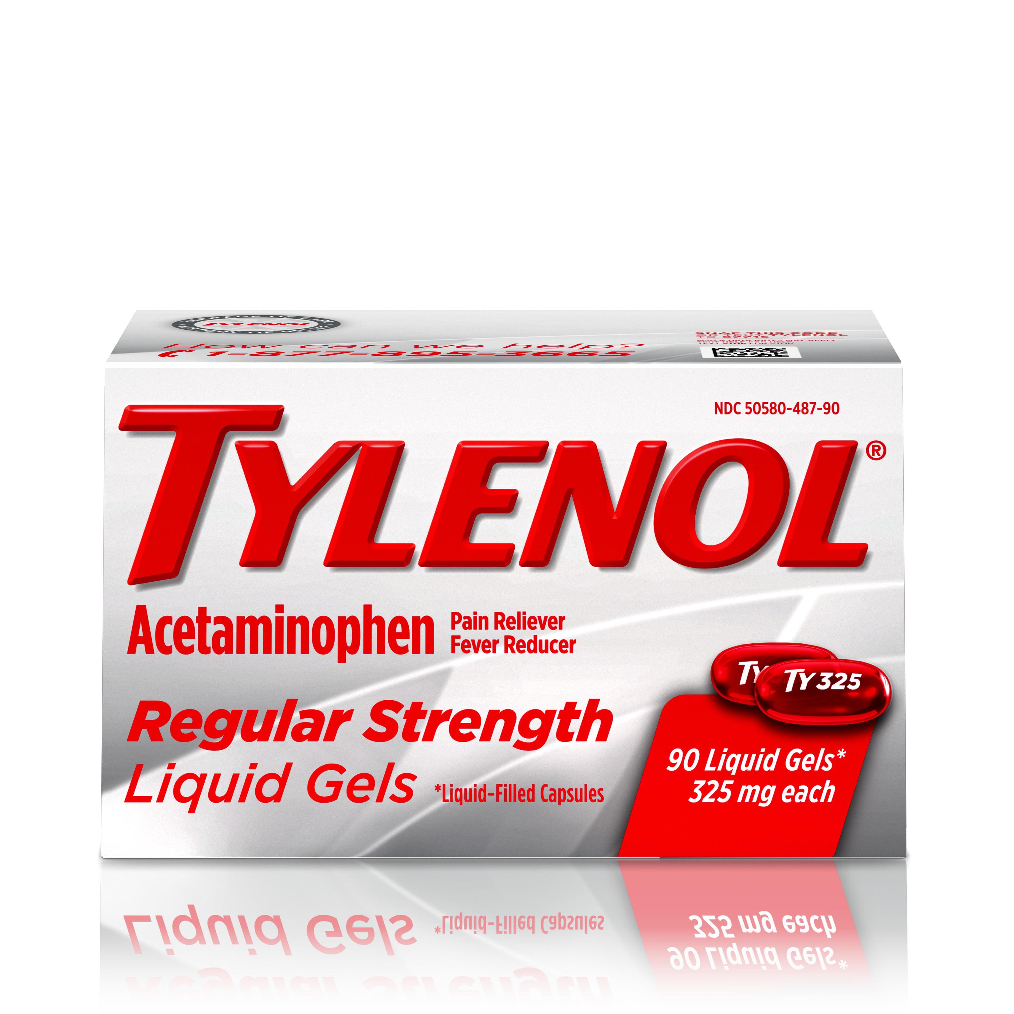 Tylenol Regular Strength Liquid Gels with 325 mg Acetaminophen, 90 ct