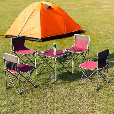 Costway Portable Folding Table Chairs Set Outdoor Camp Beach Picnic ...