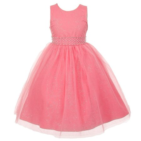 Girls Special Occasion Dresses Cheap (Rainkids Little Girls Coral Sparkly Tulle Pearls Special Occasion Dress)