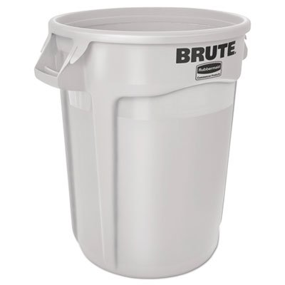 Gallon Brute Round Container Lid - Round Brute Container, Plastic, 10 gal, White, Sold as 1 Each