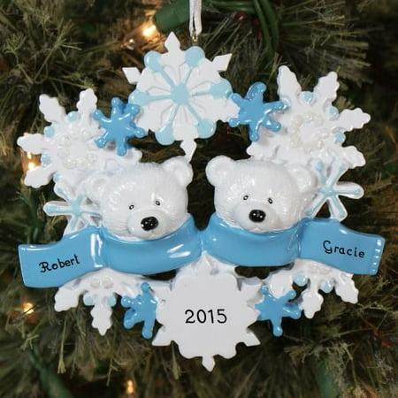 Polar Bear Wreath Family 2 Personalized Christmas Ornament DO-IT-YOURSELF