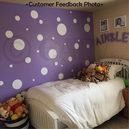 Assorted Vinyl Polka Dots circle wall decals vinyl stickers nursery decor (White/set of 32)