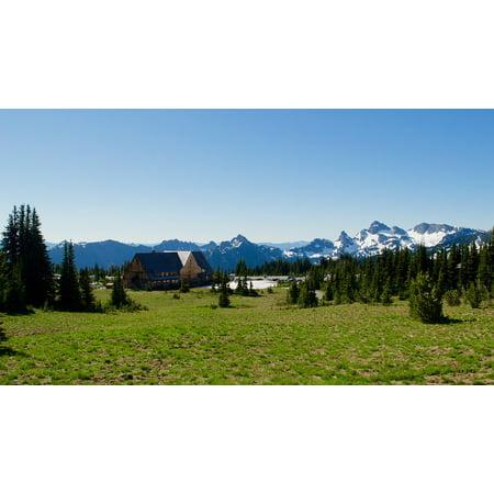 Alpine Lodge Frame (Framed Art For Your Wall Travel Landscape Hut Alpine Lodge Mountains 10x13)