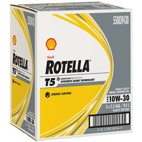 Shell Rotella T5, 10W30 Motor Oil, 2-pack of 2.5 Gallon Bottles