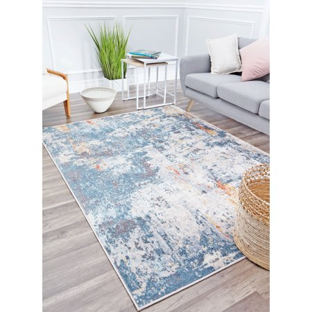 Rugs America Athena Collection Abstract Storm AT55A Vintage Transitional Area Rug 5'3